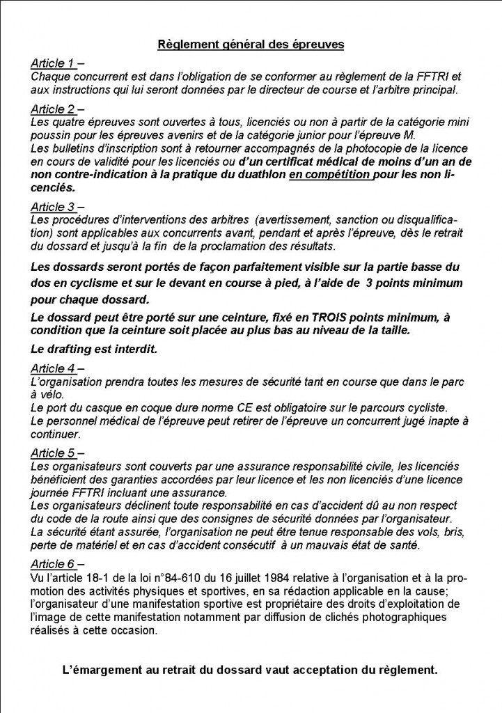 Duathlon règlement général 2014
